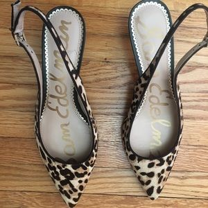 Sling back animal print heels
